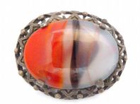 Vintage Miracle Faux Banded Agate Stone Scottish Style Brooch.